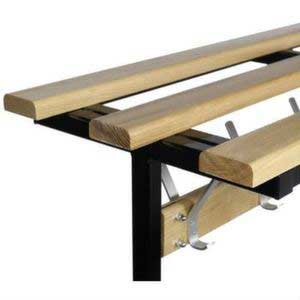Versa Square Frame Bench Wood Top Shelf Close Up