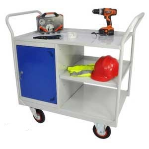 Mobile Maintenance Trolley with Side Cupboard & Shelves