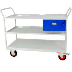 Mobile Maintenance Trolley with 3 Shelves & Drawer