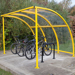 Stratford Cycle Shelter - Optional Powder Coated Yellow