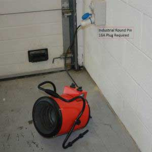 3kW Industrial Heater - Requires Round Pin 16A Plug