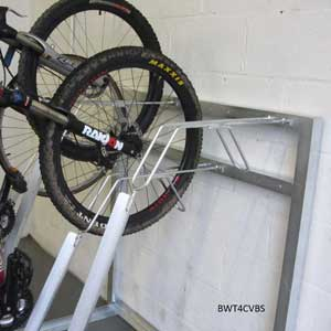 4 Bike Vertical Storage Rack In Use Close Up