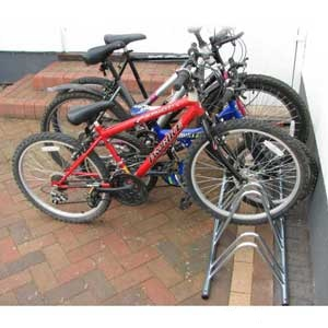 Round top 4 section cycle rack - dual height