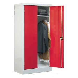 Workplace Clothing Cupboard With Red Doors