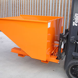 Combi-use Tipping Skips mounted on forklift
