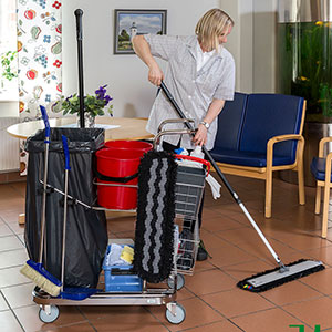 Janitorial Cleaning Trolley with Mesh Baskets E402676