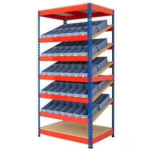 Rivet Racking Kanban Shelving with Shelf Trays