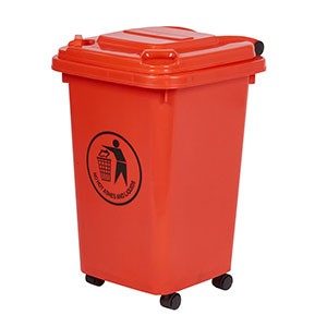 30 Litre Wheeled Bin in Red/Orange
