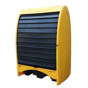 Outdoor covered 2-drum storage unit with roller door closed
