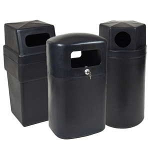 Recycled<br /> Black Outdoor Litter Bins