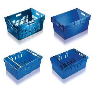 Maxi-Nest Stacking Containers with stacking bars