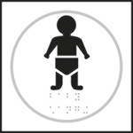 Baby Changing White Braille Sign