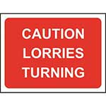 Caution Lorries Turning Road Sign
