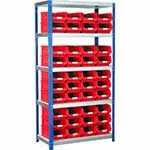 Ecorax - Topbox Shelving Units 5 shelves & 40x TC4 bins