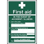 In The Event Of Accident / Illness First Aid Sign