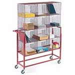 Mail Sorter Trolley with mesh compartments