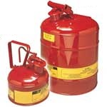 Justrite Metal Safety Cans for flammable liquids