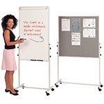 Mobile 3-in-1 Flip Chart, Wipeboard, Noticeboard Combination Unit