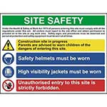Multi-Purpose Site Safety Sign With 1 Warning, 2 Mandatory & 1 Prohibition Messages
