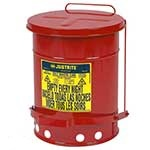 Justrite Oily Waste Cans solvent / flammable wipes & rags