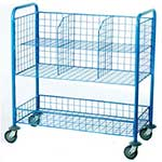 Post Room Trolley with mesh compartments