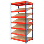 Rivet Racking Kanban Shelving with Chipboard Shelves