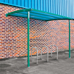Starter Wall Mounted Cycle Shelter with 3 Cycle Stands