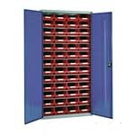 Steel Storage Cabinet with 52 plastic containers