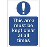 This Area Must Be Kept Clear Of All Obstructions Sign