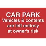 Users Of This Car Park Do So At Their Own Risk Warning Sign