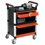 Utility Tray Trolley with 3 Shelves with Drawer and Cabinet