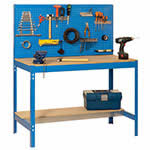 Workshop bench with backboard