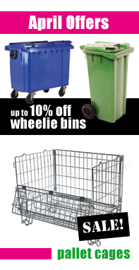 April Special Offers - Wheelie bins and Pallet cages