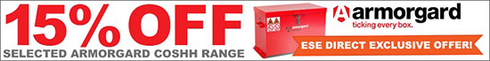15% OFF selected Armorgard COSSH cabinets. ESE Direct Exclusive Offer!