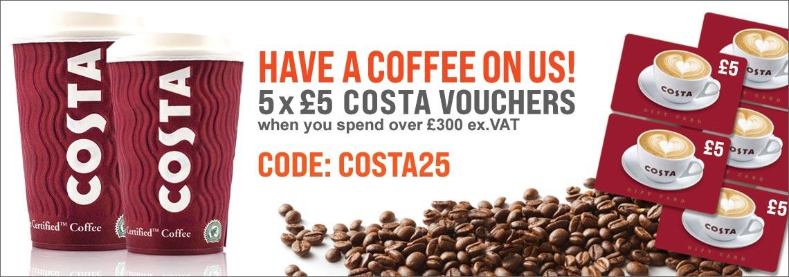 Five £5 costa vouchers with orders over £300 ex.VAT