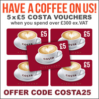 £25 FREE Costa Coffee vouchers with orders over £300!