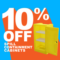 10% OFF spill containment cabinets