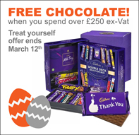 FREE Chocolate Gift Packs with orders over £250 ex.VAT with offer code CHOC250