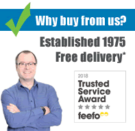 Why buy from us? Established in 1975. Free delivery on orders over £45. Feefo trusted service award winner 2018