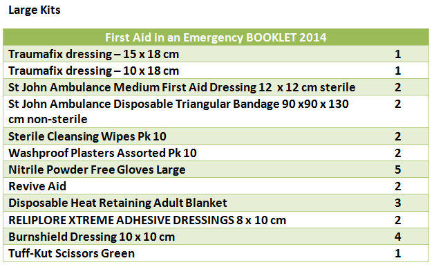 Large first aid kits contents