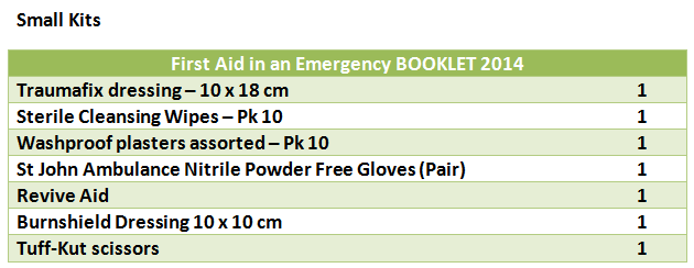 Small First Aid Kit contents