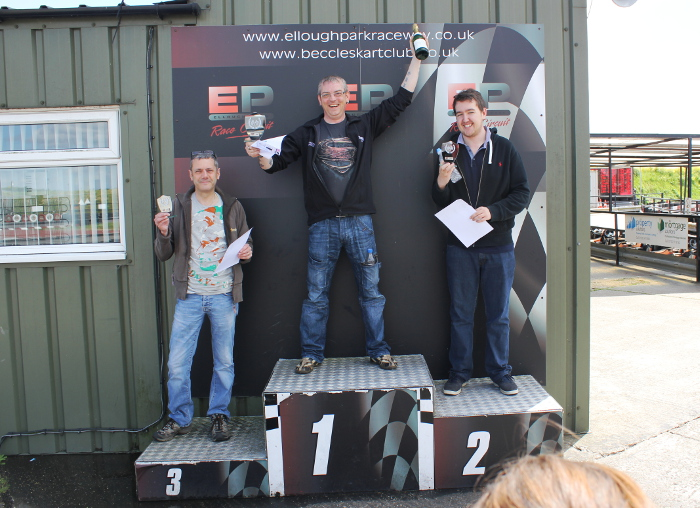 Martin Donovan takes first place at Go-Karting, Nick Francis on 2nd and Mark Wilson, 3rd