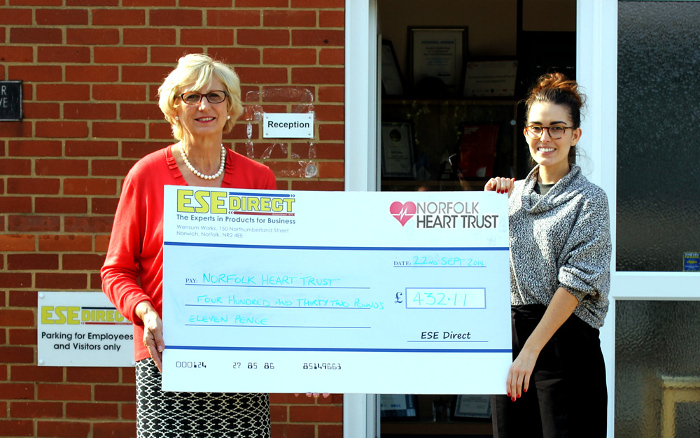 Norfolk Heart Trust collect cheque from ESE Direct