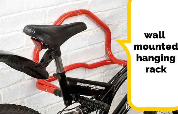 Wall mounted hanging cycle rack