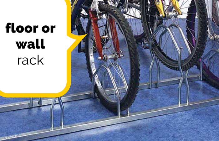 Floor or wall cycle rack