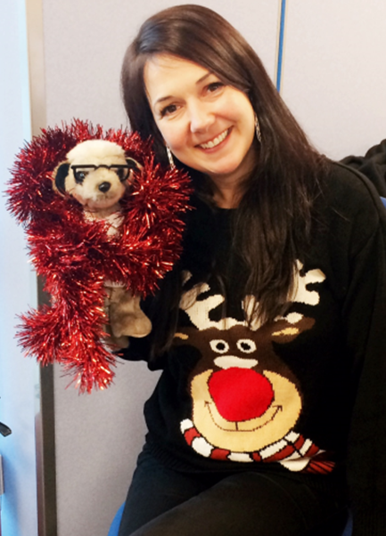 Debs with a reindeer and Sergei
