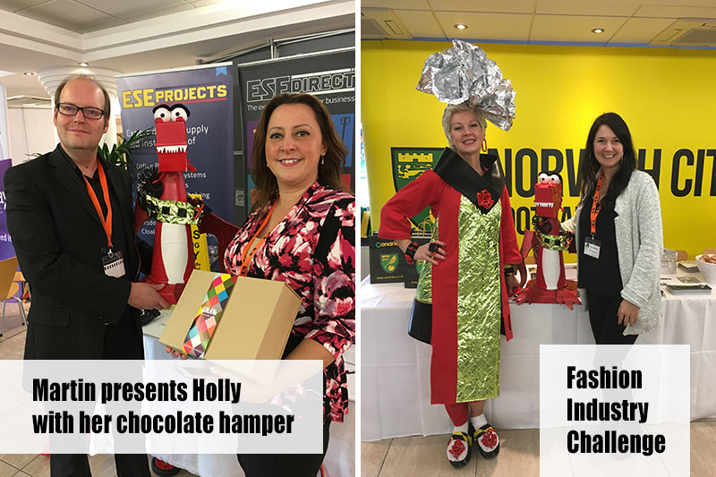 Martin Gilmour presents Holly with her Gnaw chocolate hamper and Sally shows off her Fashion Industry Challenge Outfit