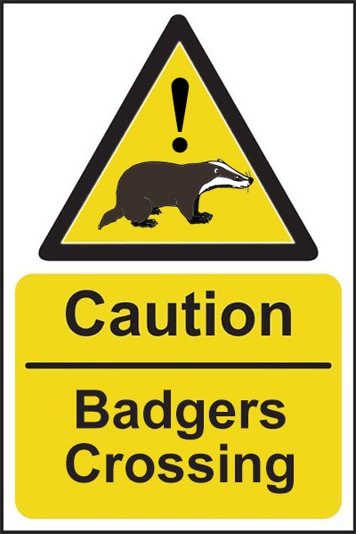 Caution, Badgers Crossing Warning Sign