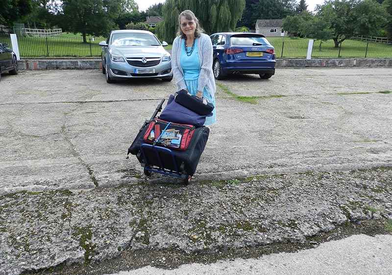 The uneven car park is no problem for Gill and her sack truck!