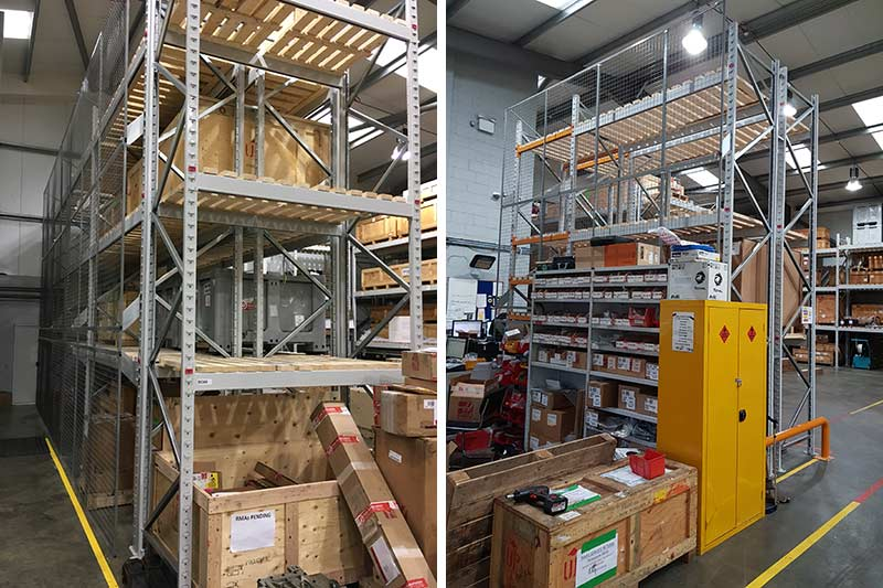 Anti-collapse mesh installed onto pallet racking